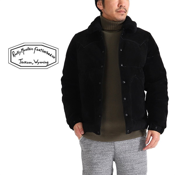 【TIME SALE 40%OFF 11/18(月) 12:59まで】<br>Rocky Mountain Featherbed ロッキーマウンテン スエードレザー クリスティー ダウンジャケット 200-182-09